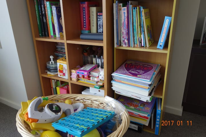 Yes, we have toys for kids and kid's reading books and activity books are available