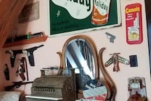 My husband admired the nifty advertising graphics on vintage signs, tins & toys