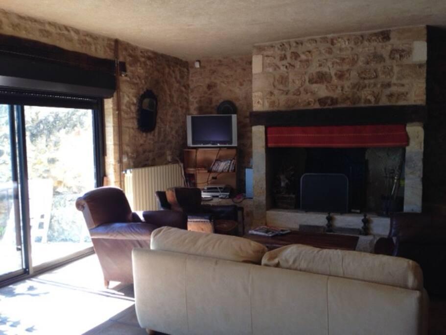 Salon cheminée avec télévision au rez de chaussée avec ouverture terrasse