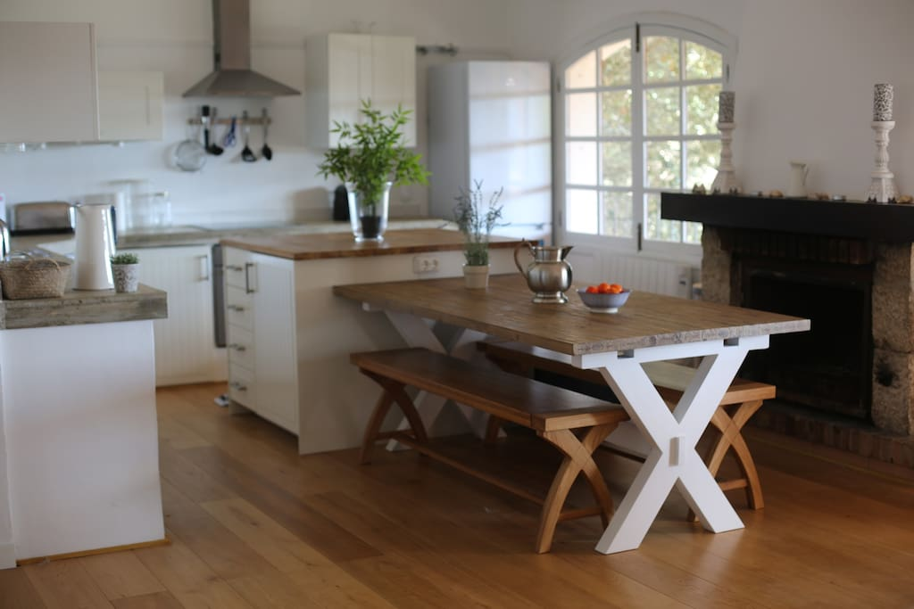 Kitchen and indoor dining area. Fully equipped kitchen includes nespresso machine