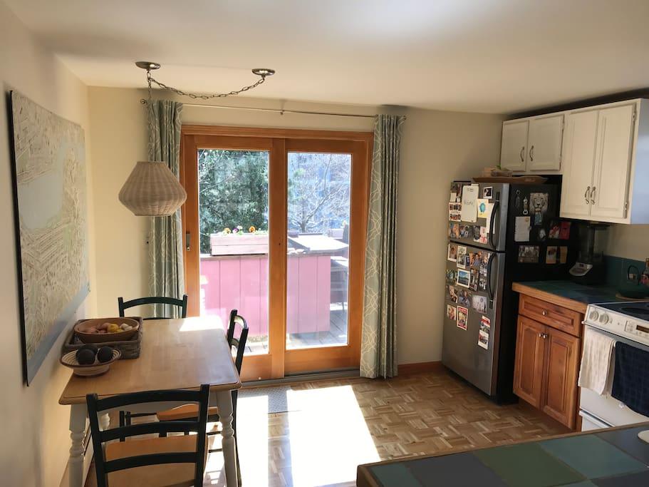 Eat in kitchen with patio door to deck.