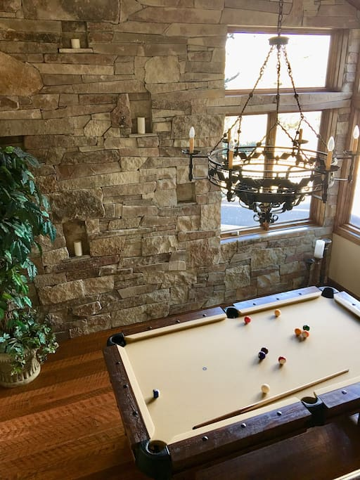 pool table (can convert into dining for 12)