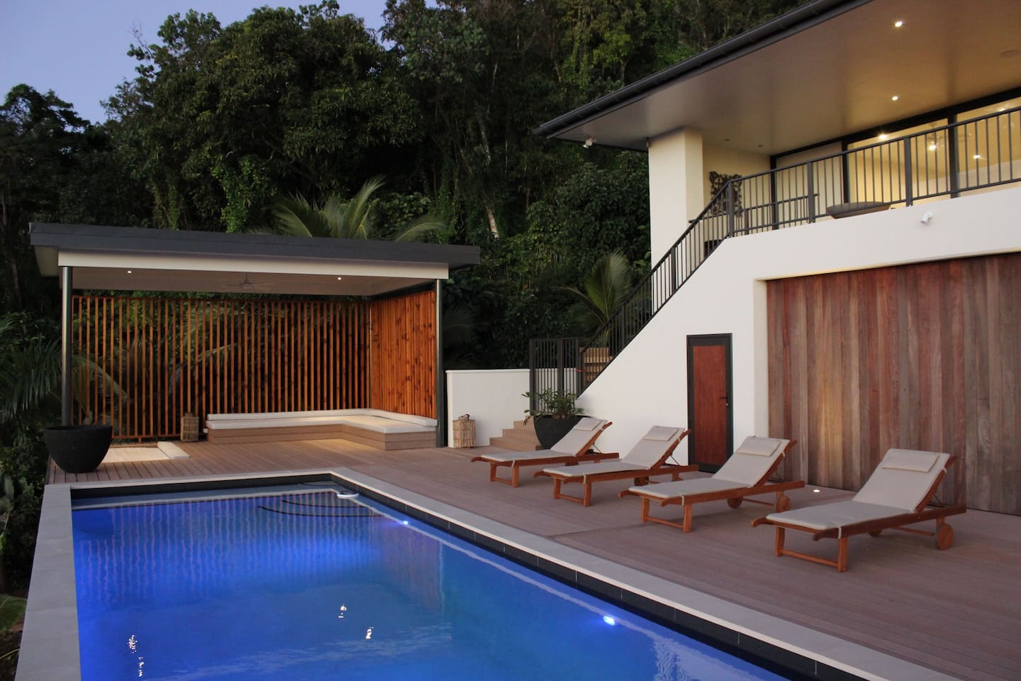 Huge pool, cabana and deck area. Fenced to prevent kids unintended external access.
