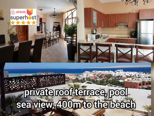 roof terrace sea view pool free wifi Orfi ok