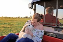 If we are around, hop on the 4 wheeler with us and discover our ranch, help feed the cows!