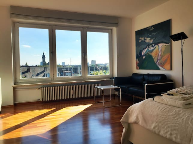 Modern inner city apartment with a lovely view