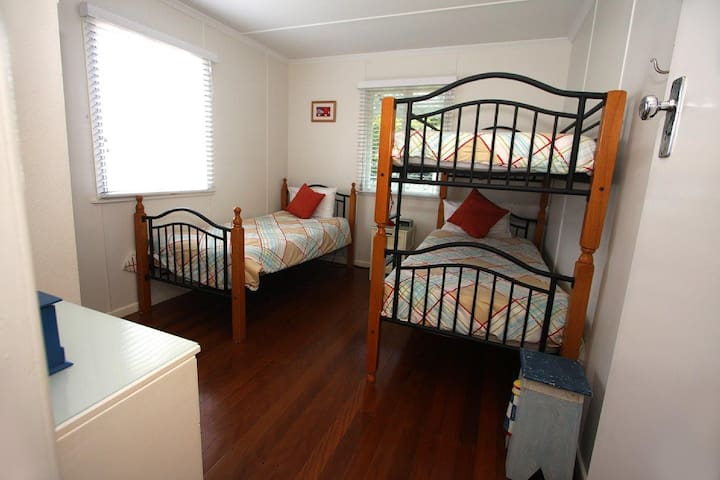 Second Bedroom with bunks and single bed