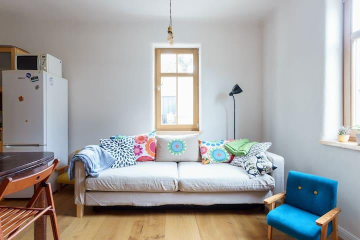 Ausziehbare Couch im Wohnzimmer