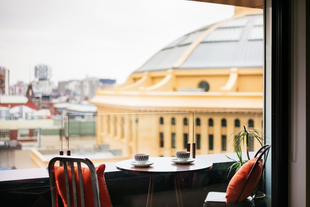 Enjoy a morning coffee or tea on the spacious terrace overlooking the iconic 160 year old State Library of Victoria.