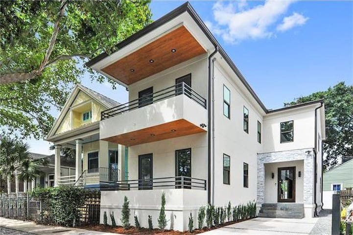 Bold Contemporary home on Beautiful Tree lined street w/ parking for 2-3 vehicles