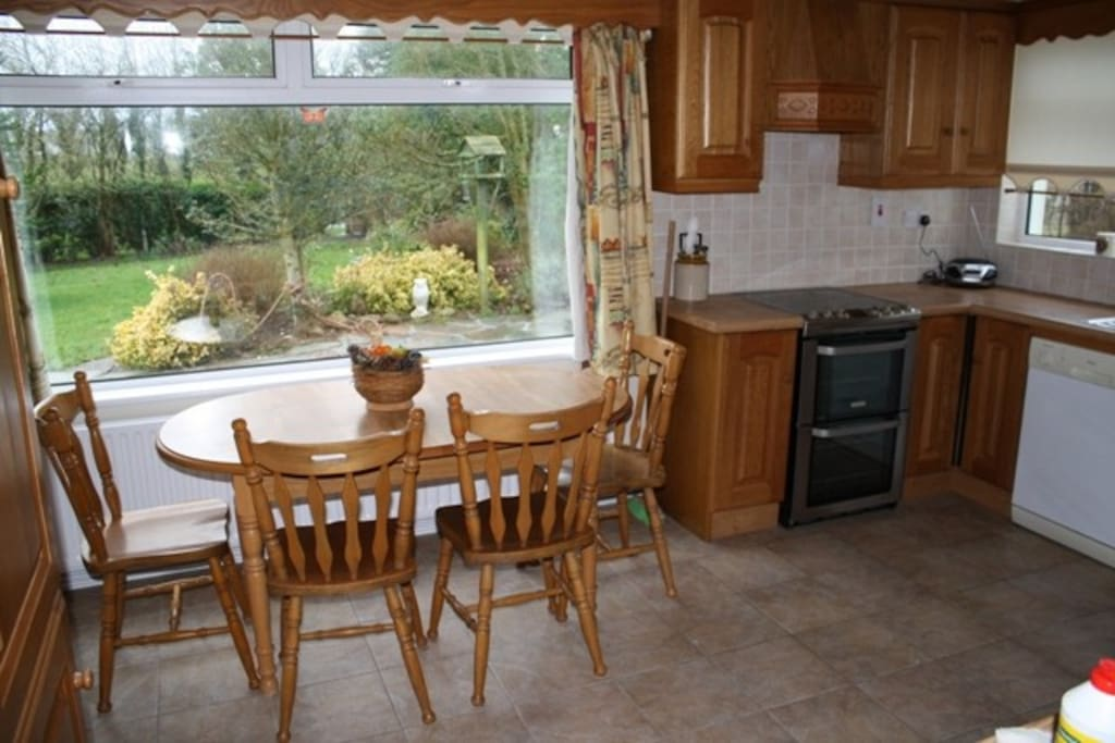 Kitchen with view of garden