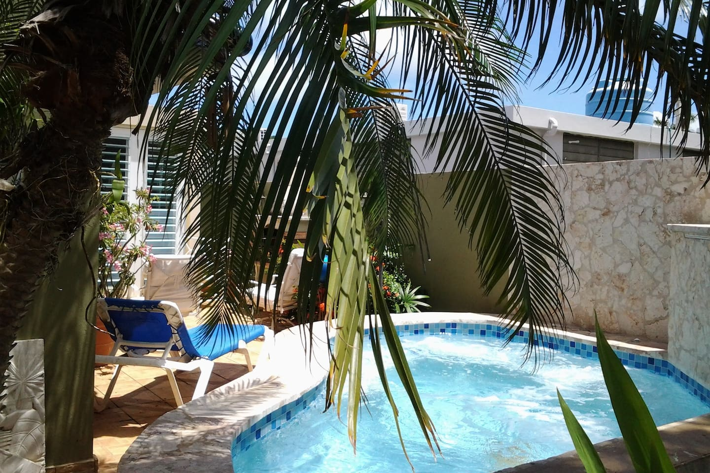 Small jacuzzi pool provides a hydrotherapy experience in a beautiful garden setting!