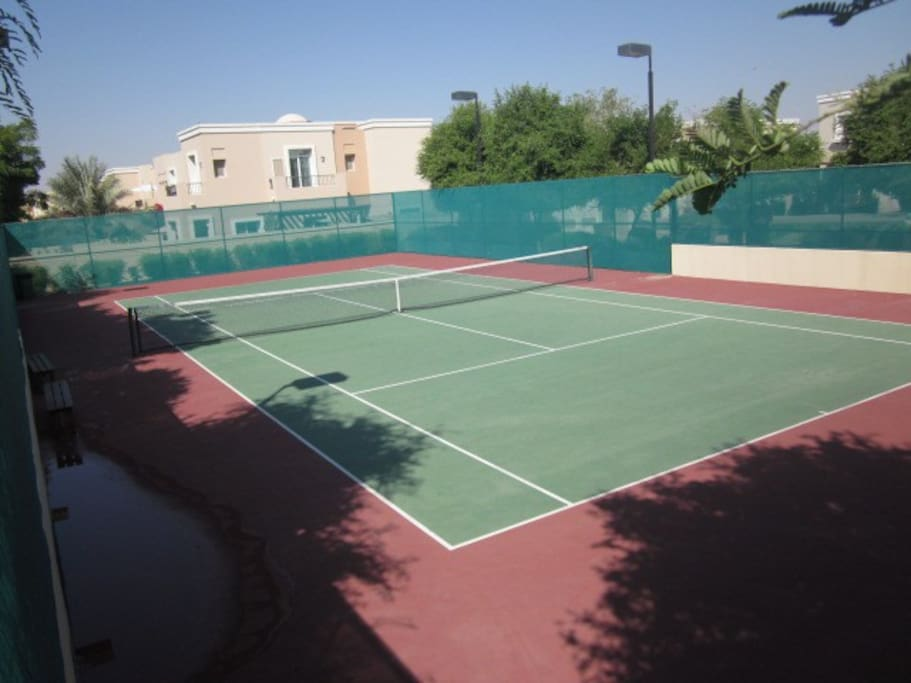 Shared tennis courts, online booking.