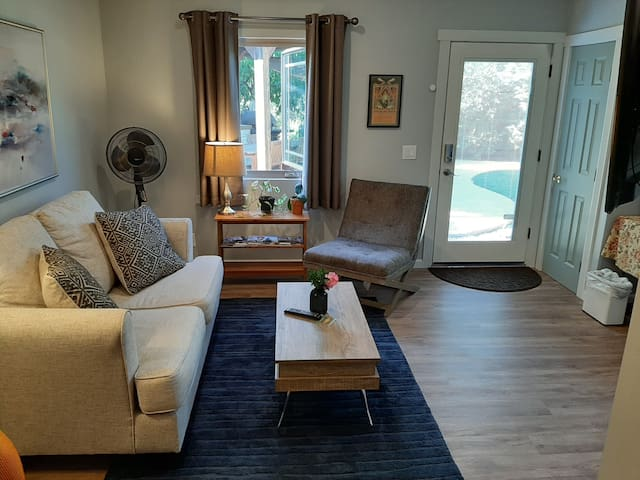 New addition: queen bed, private bath, living room
