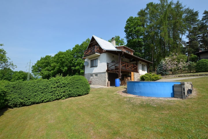 House with the pool and fenced garden. Great view at Trosky Castle!