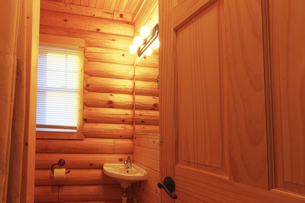 Cabin Bathroom with toilet, sink and shower
