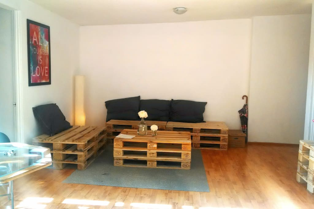 living room we made with pallets.