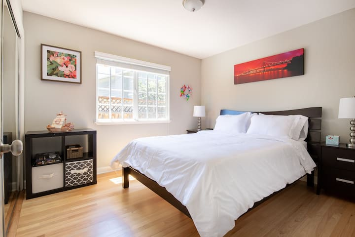 Bedroom #2 has a plush Queen-sized bed and ample closet space