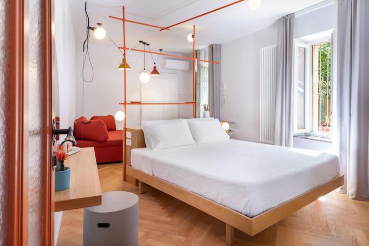 Panoramica della camera da letto.