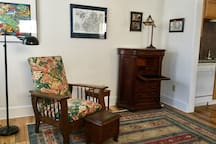 The living room and writing desk