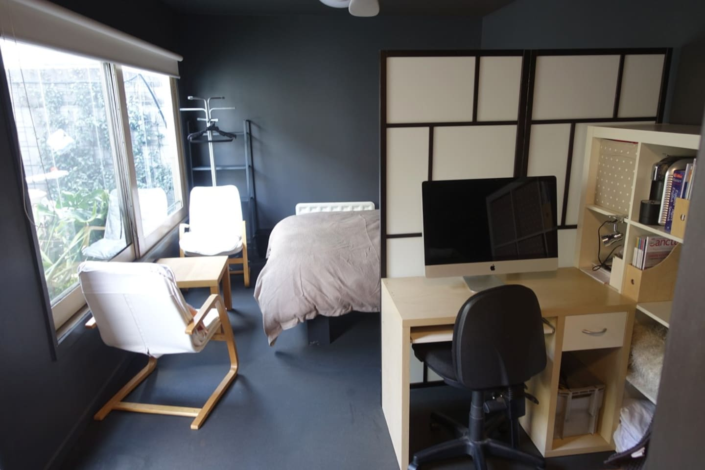 Entire studio room with independent entrance, ensuite, desk and coffee/tea facilities, fridge, microwave, wifi and cosy window-side seating with garden view.