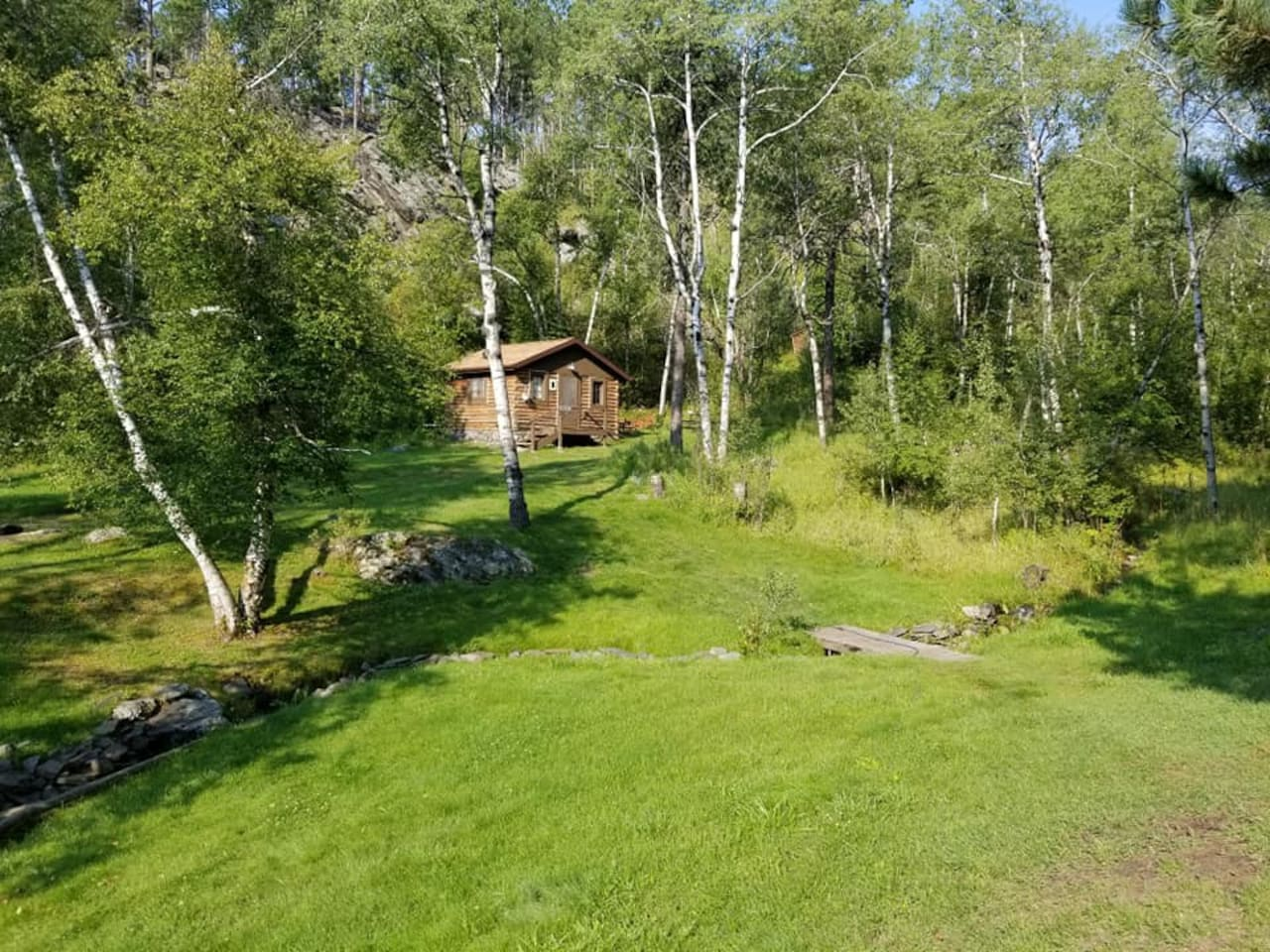 Truly nestled in the woods.  We are surrounded by the forest service on 3 sides. No pavement or concrete jungle here.