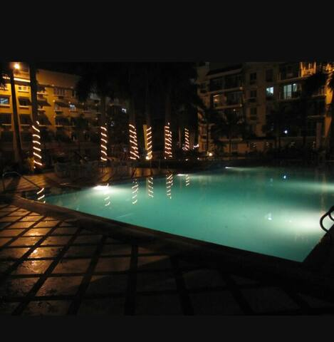 Nightime at poolside.