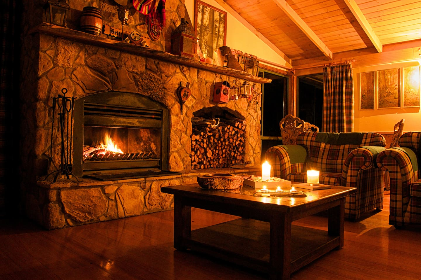 Romantic evenings by a crackling fire