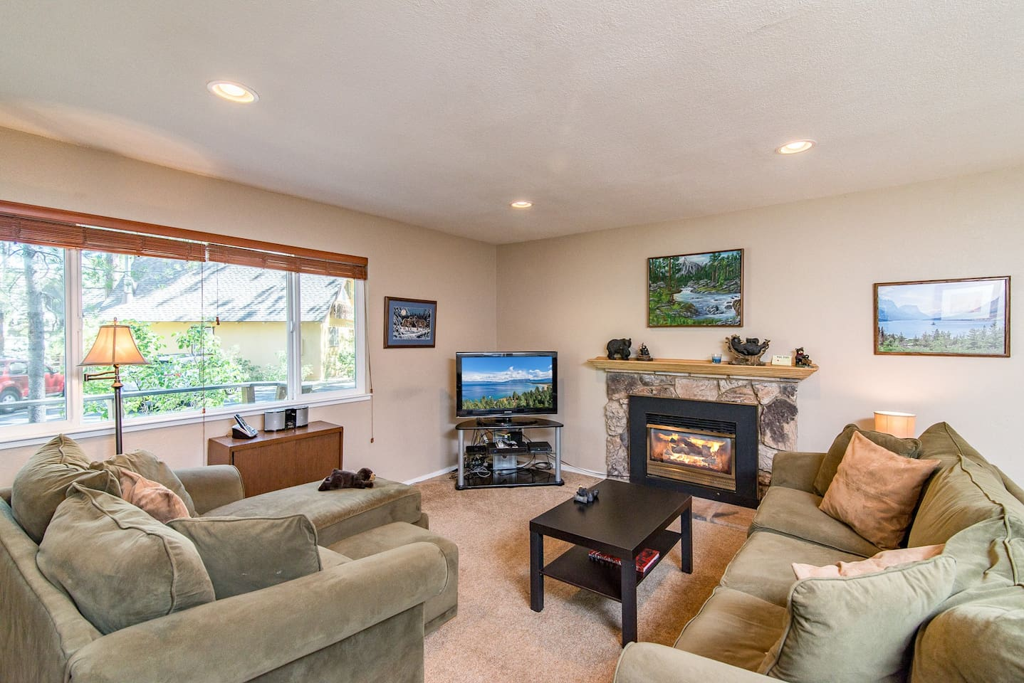 Welcome to Lake Tahoe! Get a fire going in the ultra-comfy and open living area.