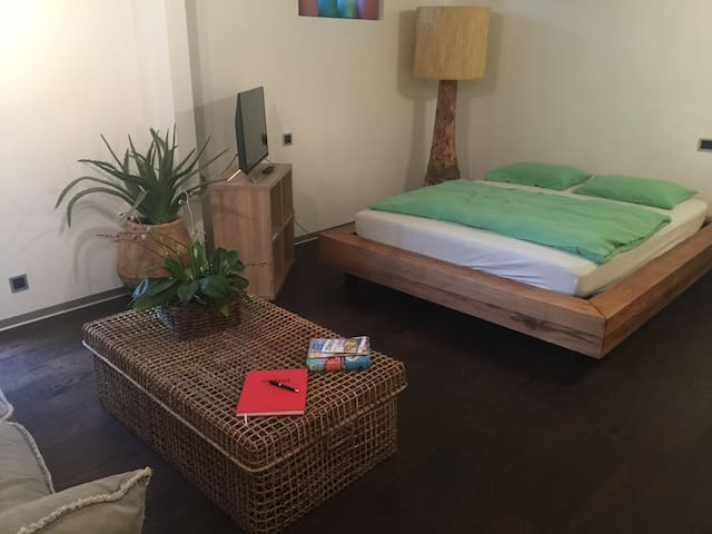 Cozy guest room with private bathroom and garden