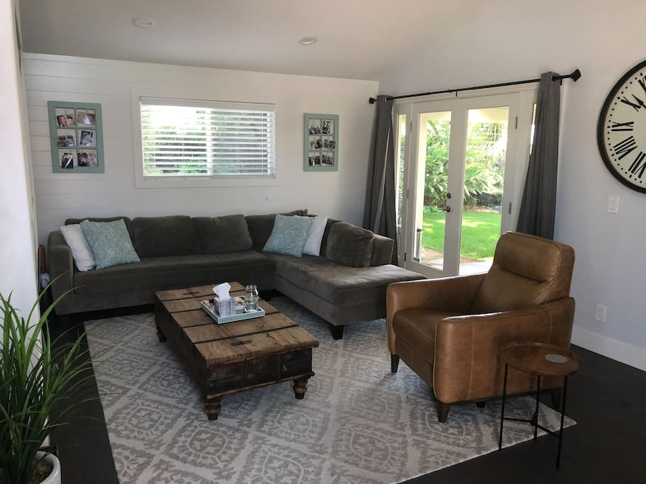 Living room with backyard access