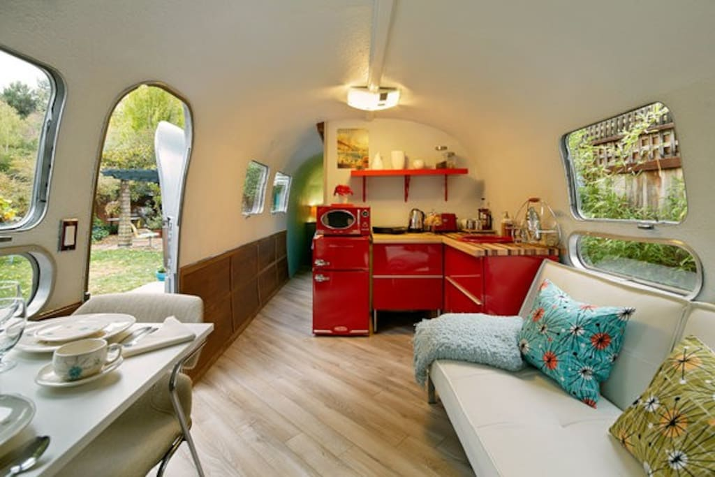 Spacious interior in a  beautifully appointed airstream