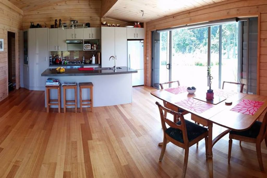 Our lovely open space kitchen/ dining area with views