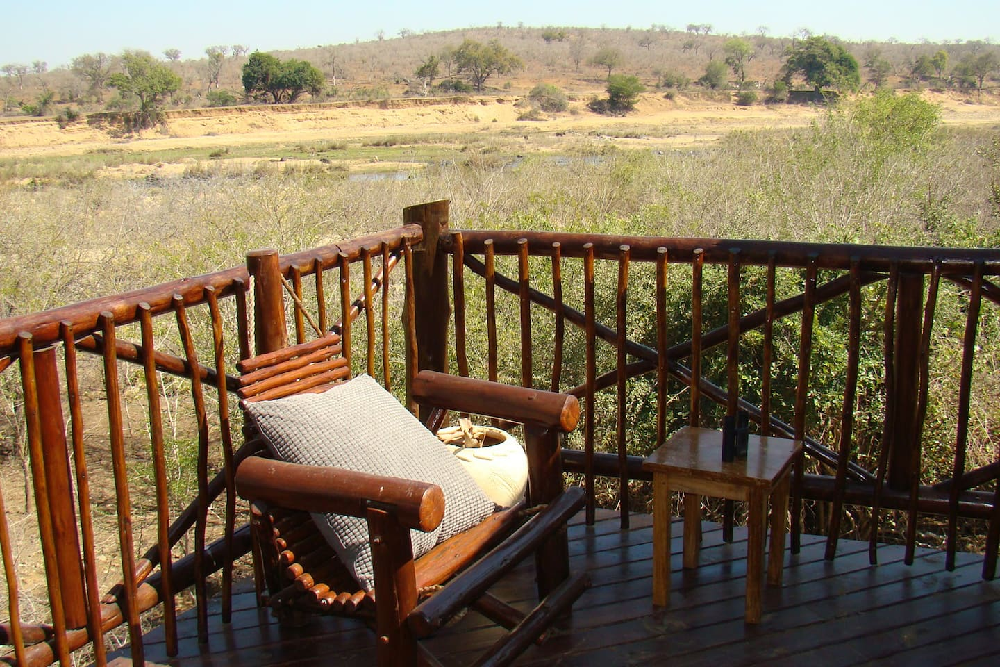 What a view. Probably the best view from any deck in Marloth Park of Kruger Park. The Big 5 have been spotted from the deck but you should always see hippo and elephant without having to leave the house.