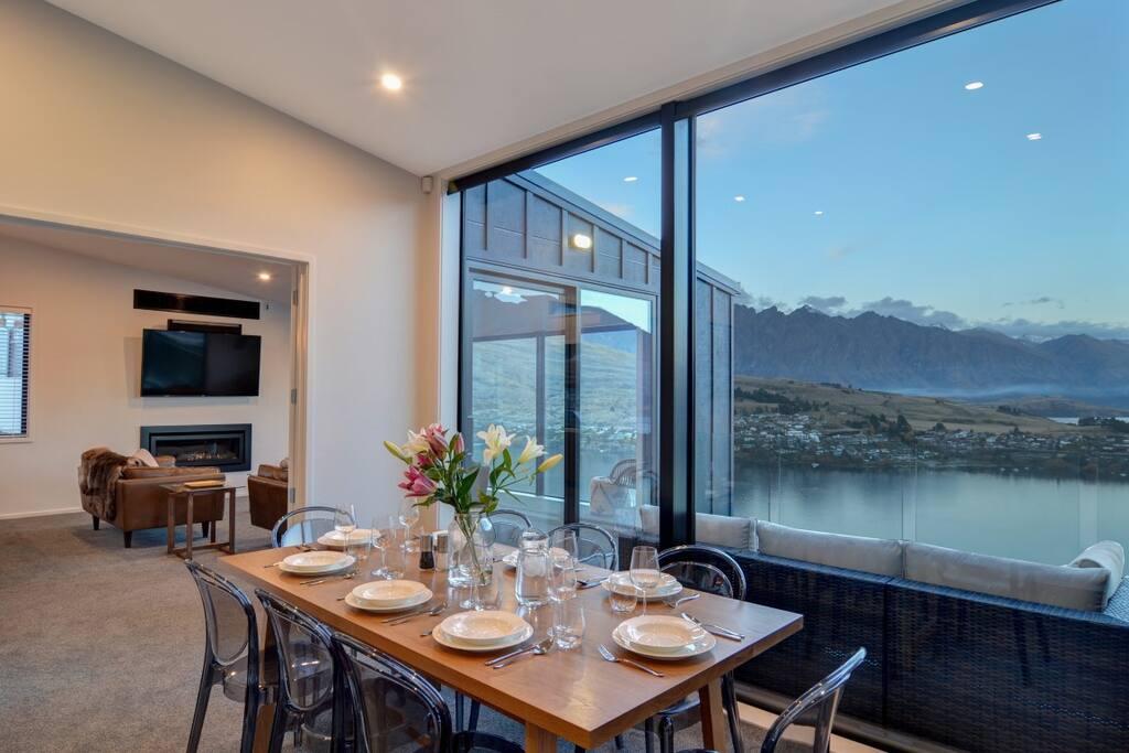 Dining area overlooking Lake Wakatipu