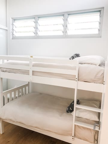 2 comfy bunk beds. An optional fold out is available  if you have a 3rd child.
