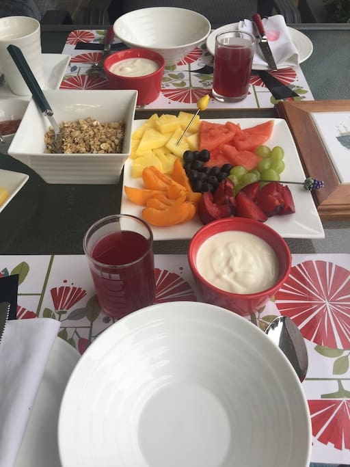 Delicious continental breakfast served outside on the terrace
