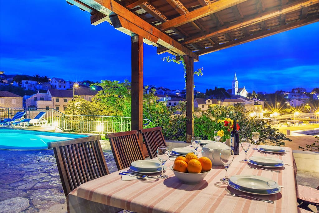 Traditional villa Bonaca, Sumartin, terrace, outdoor dinning area, sea view
