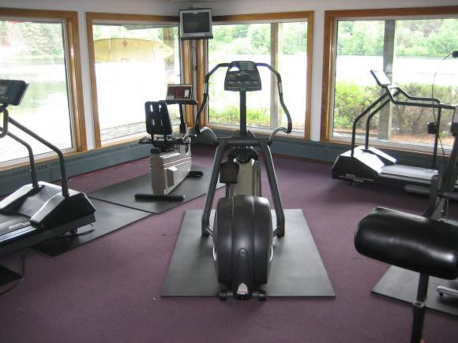 The facility has an indoor gym overlooking the pond