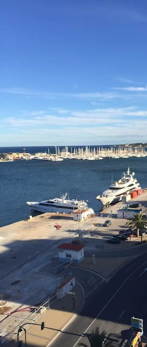 View to harbour and marina, front line apartment near beaches