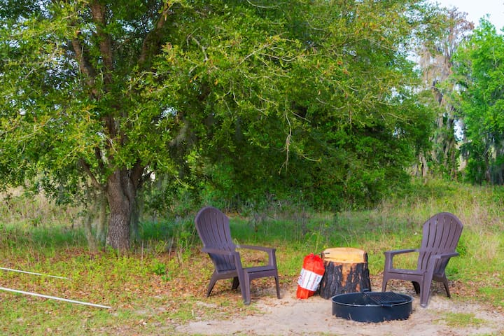 Outdoor seating area at your private campsite.