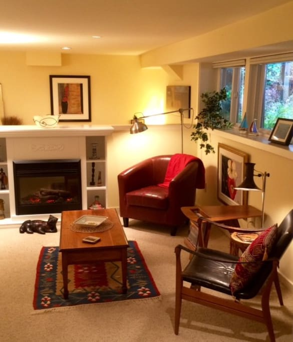 The living area and fireplace