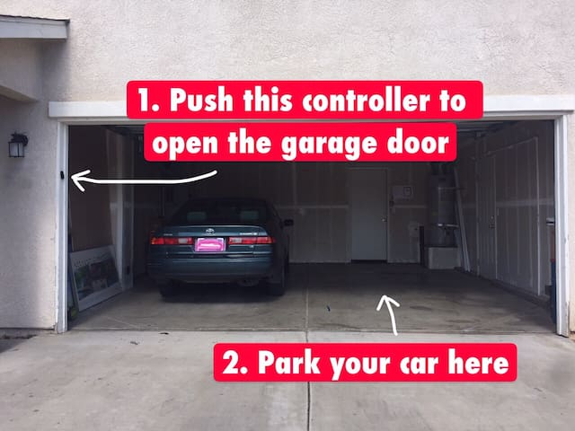 Check in step 1 and 2: Open the garage door and park your car