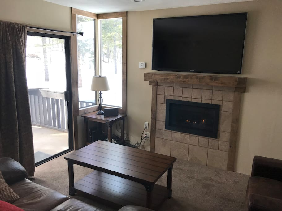 "gas fireplace and 55"" TV"
