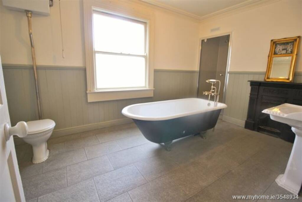 Master bathroom with Victorian bath and power shower