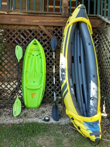 We have kayaks and other outdoor equipment available to rent