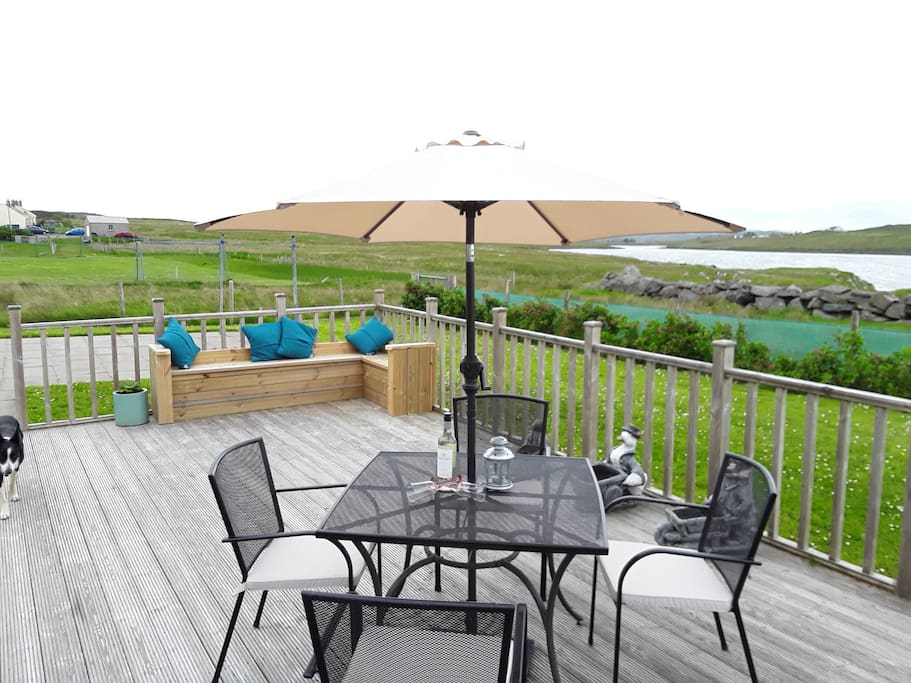 Decking area with sea views