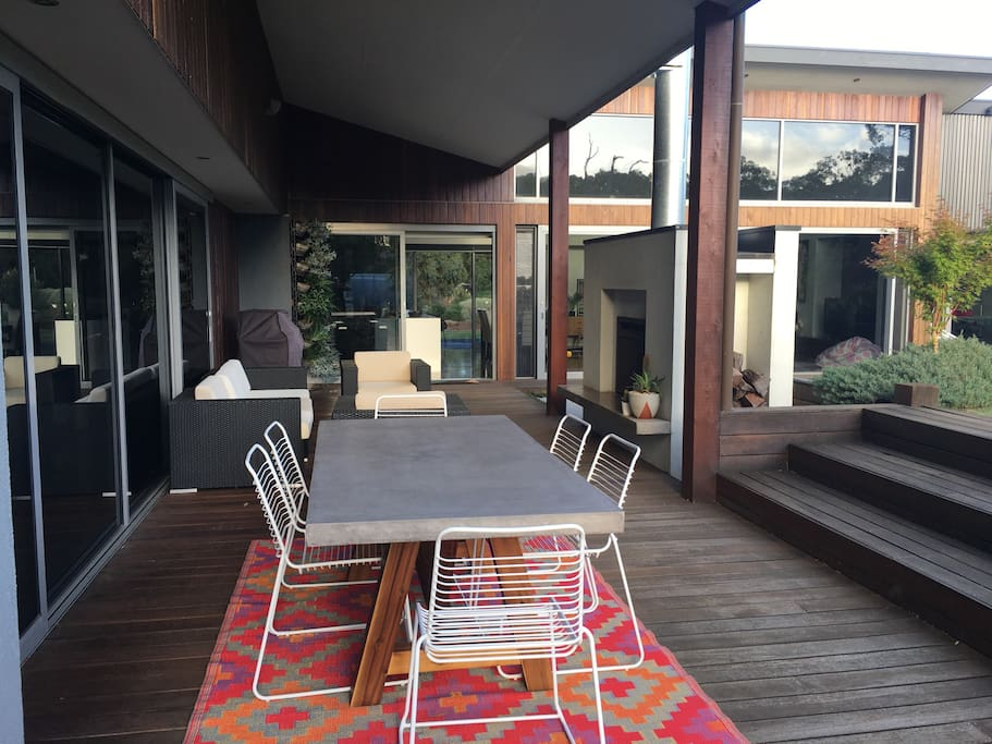 Outdoor living... relax around the open fire or dine outdoors.