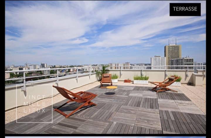 Duplex rooftop 15 minutes de République
