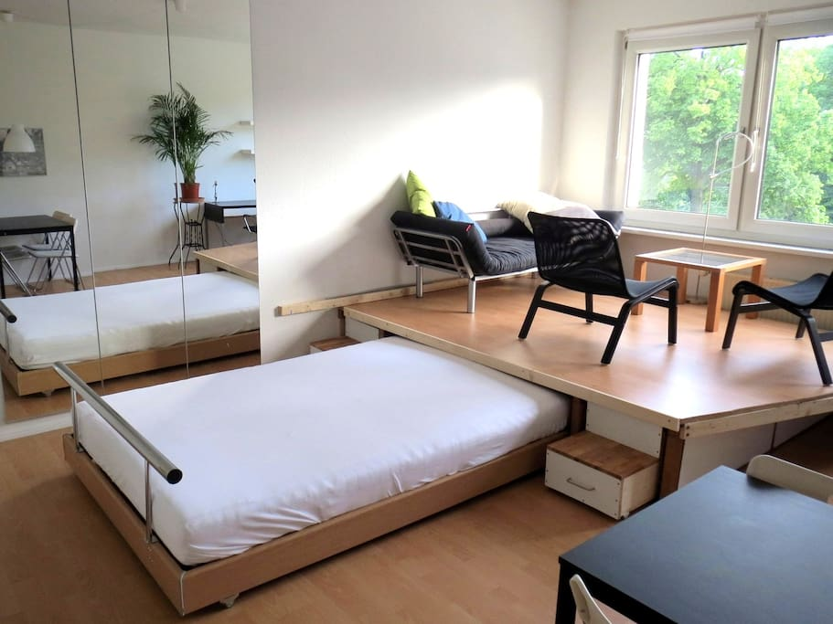 Large pull-out bed for sleeping comfort at night. The sofa above can also be converted into a small bed